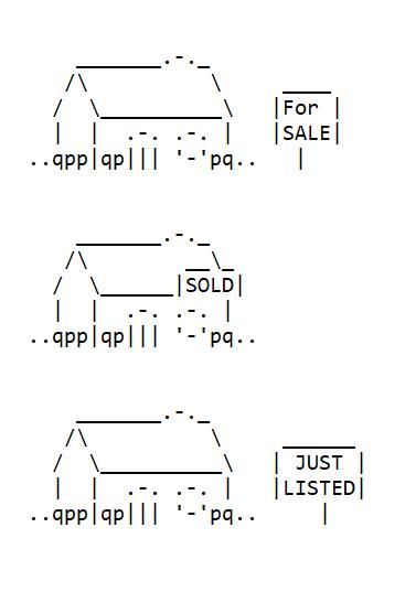 Real Estates Sales Icons in ASCII Art