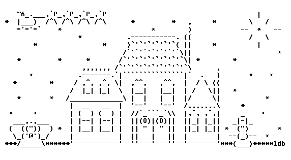 Santa and Sleigh for Christmas in ASCII Text Art