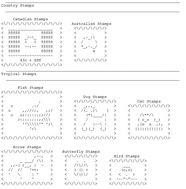 ASCII Art Stamps