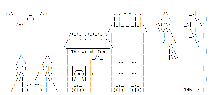 Haunted Houses in ASCII Text Art for Halloween