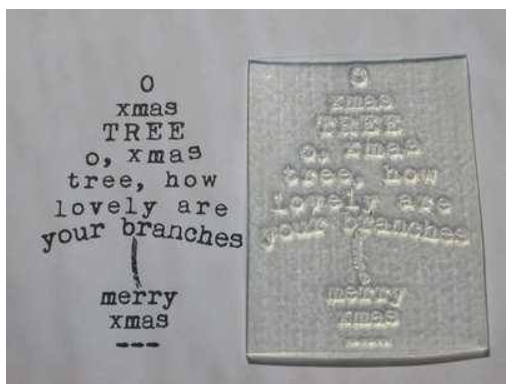 Christmas Tree Typewriter Stamp Art
