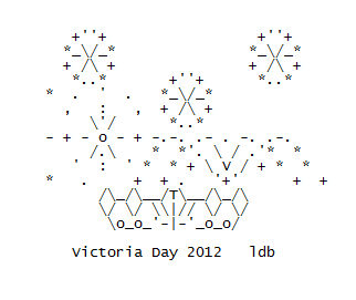 Fireworks and Victoria Day (a Canadian Holiday Tradition) in ASCII Text Art