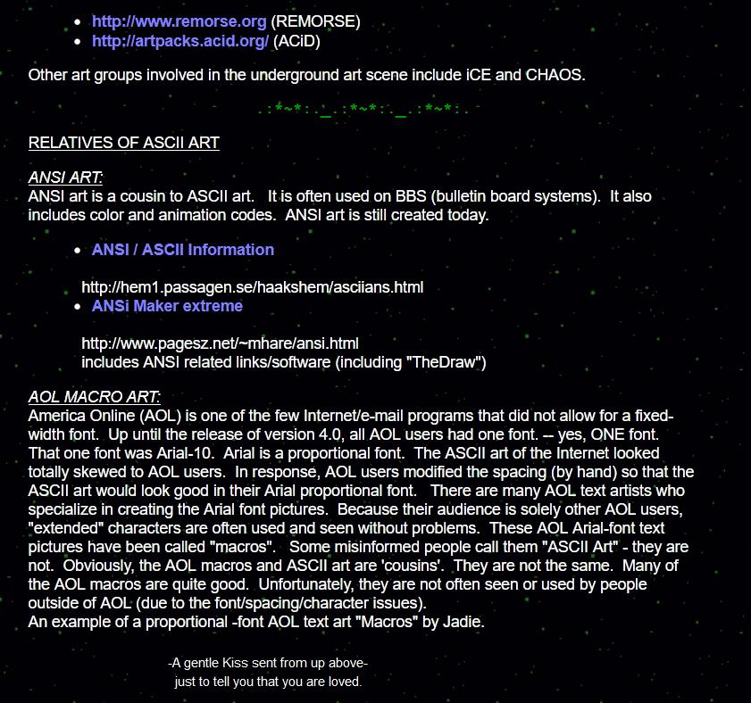 History of ASCII Art from Joan Stark